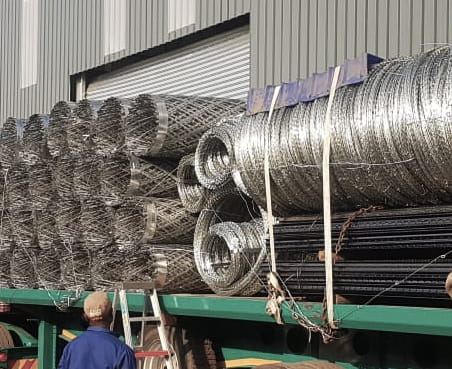 Razor wire mesh and coils transporting recent project