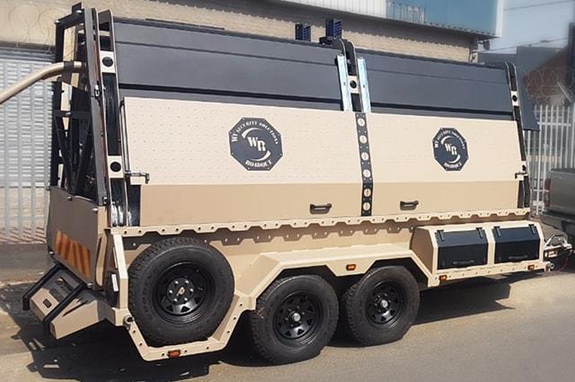 Military razor wire trailer side view