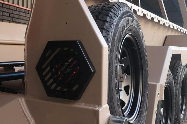 Military razor wire trailer spare wheel