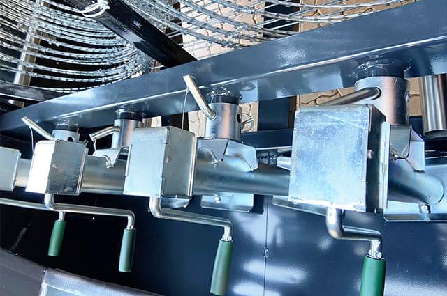 Police razor wire trailer closer inner view
