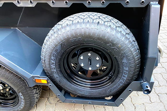 Police razor wire trailer spare wheel