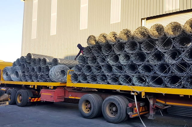 Transportation of razor wire mesh rolls