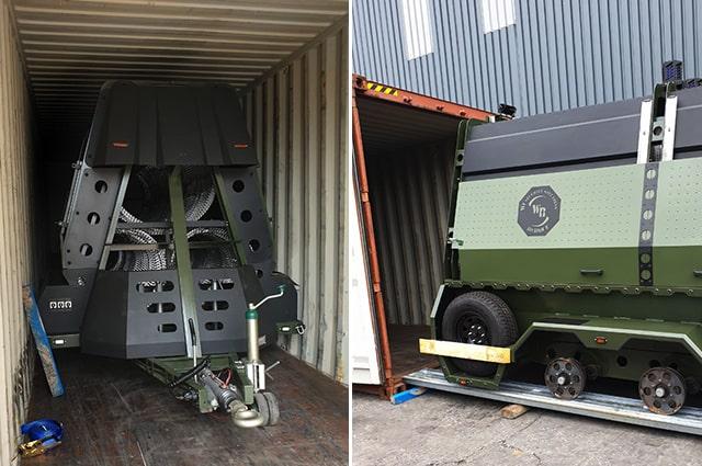 Load of razor wire trailer into container