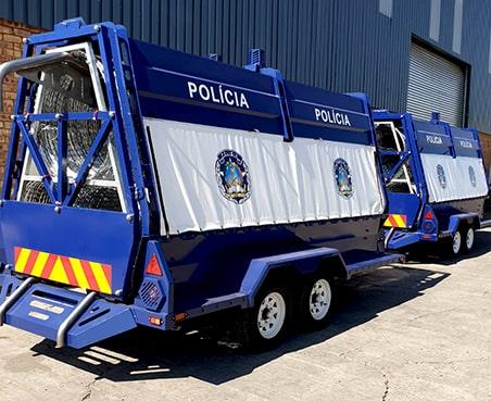 Police razor wire trailer for Angola