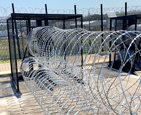 Gate protection boxes concertina razor wire barriers deployed